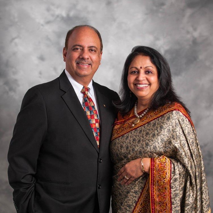 President Shekhar Mehta and his wife, Rashi.